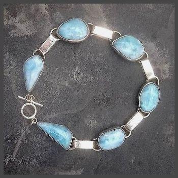6 Stone Sterling Silver Free- form Larimar Bracelet